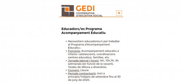 Consulta l'apartat BORSA a a web gedi.org i treballa amb nosaltres
