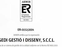 Gedi renova per quinzè any consecutiu el certificat de gestió de qualitat ISO 9001